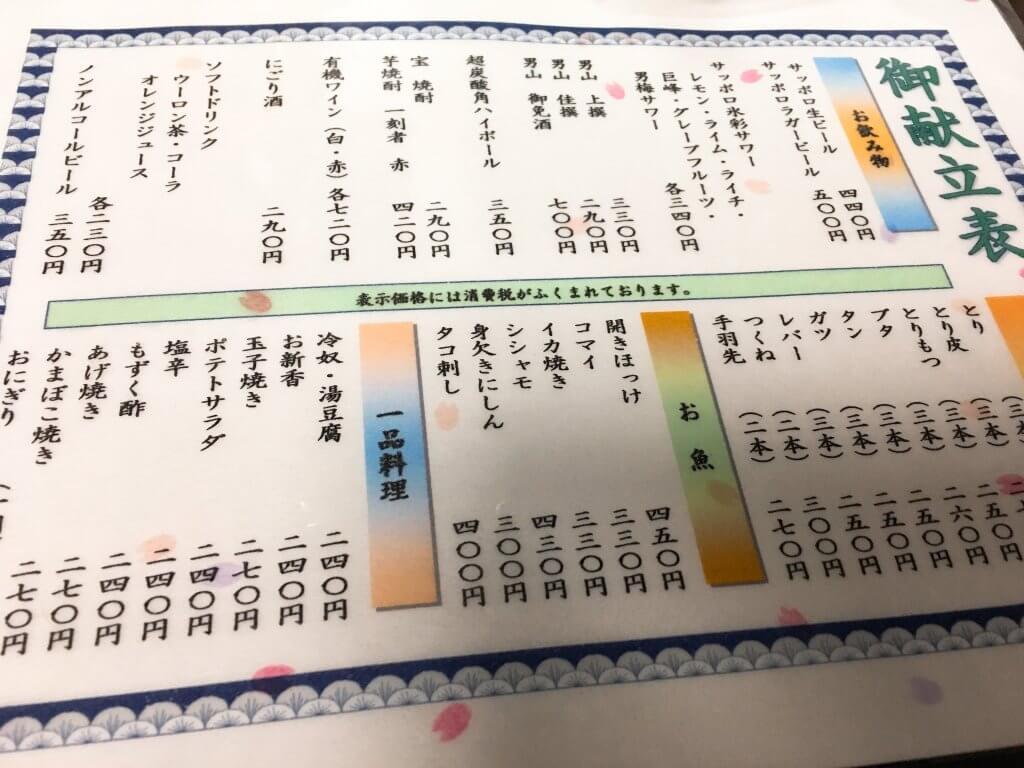 金富士本店メニュー