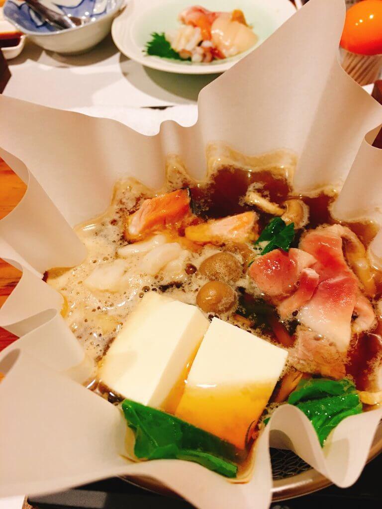七輪酒肴こいき5000円宴会コース魚介と肉の鍋