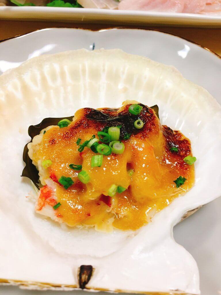 タチとホタテの味噌焼き