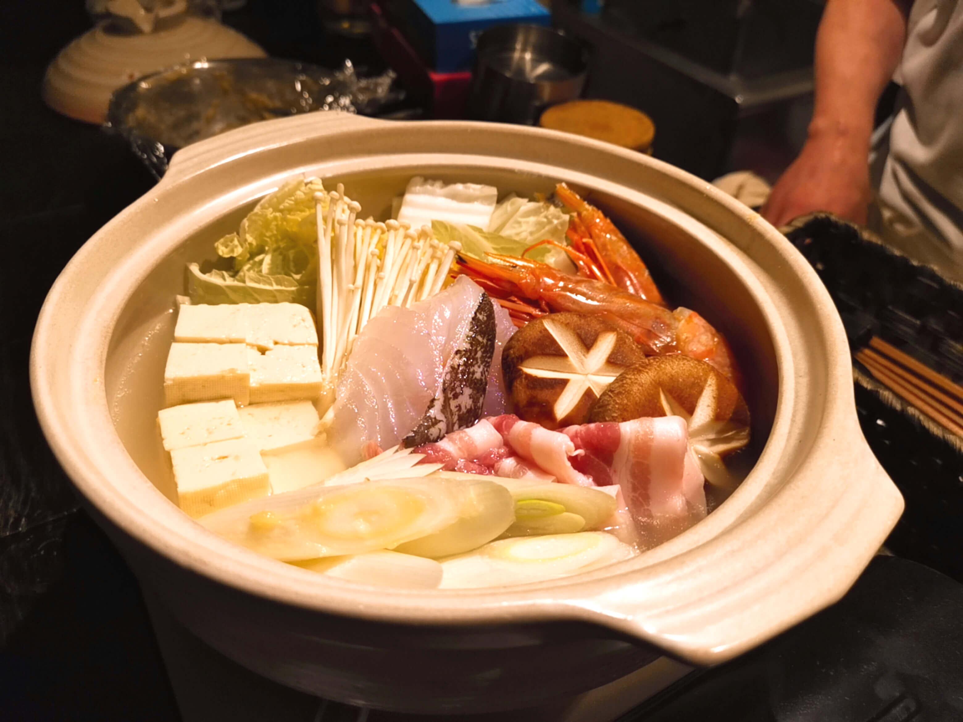 鍋コースの塩ちゃんこ鍋