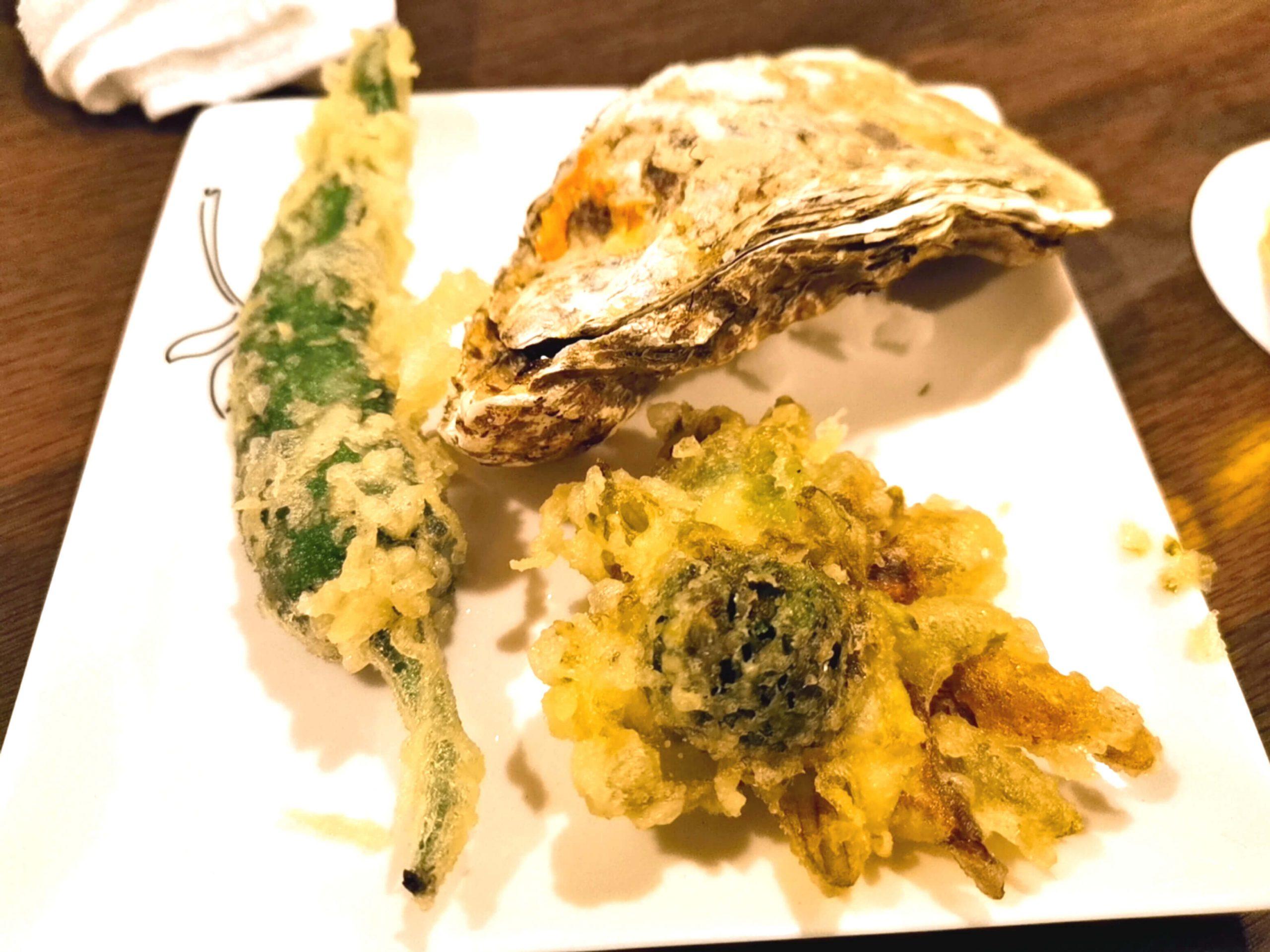 焼き牡蠣と山菜の天ぷら